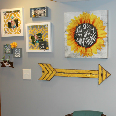OUR FINISHED BASEMENT – GRAY, YELLOW + TURQUOISE