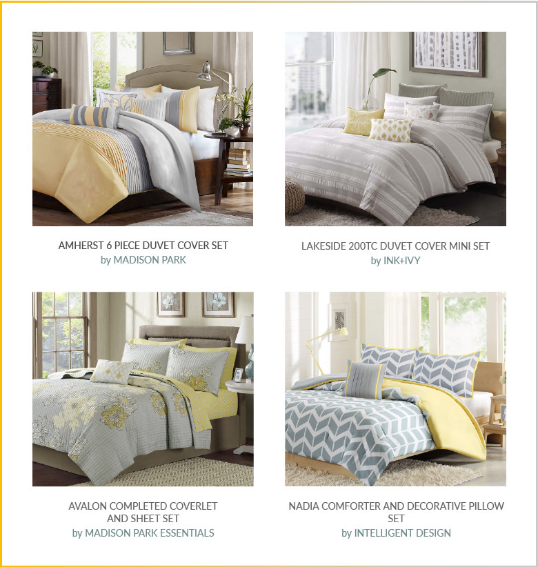 Yellow & Grey: Beddings