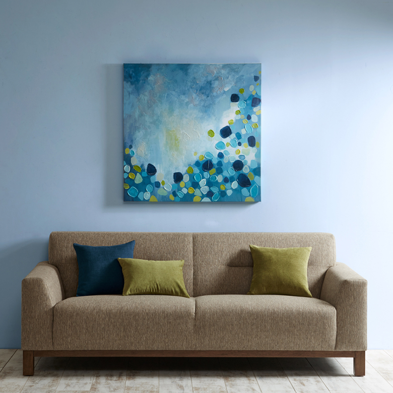 Cool Blue Bounce Hand Embellished Canvas