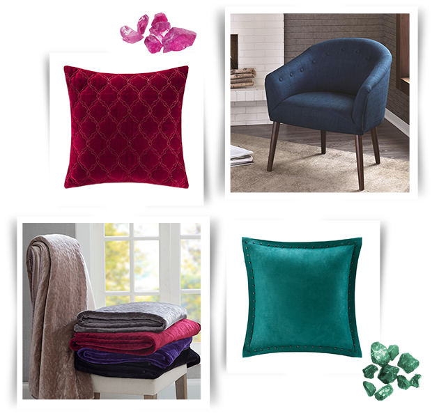 Collage of decorative pillows, throws, and accent chairs