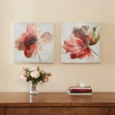 Lovely Blooms Hand Embellished Canvas 2pcs Set