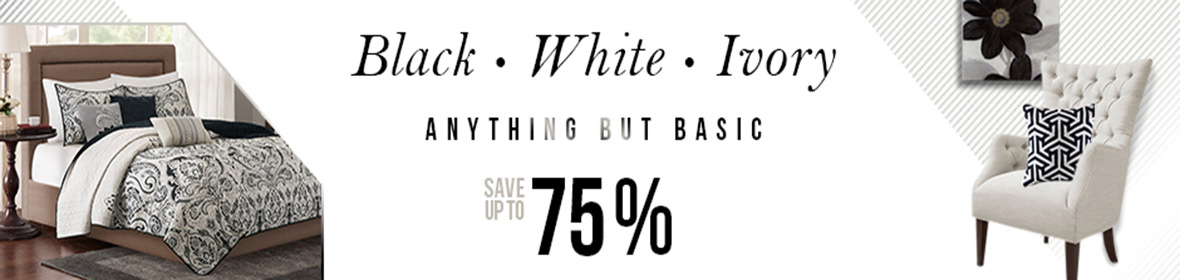 black white and ivory home decor