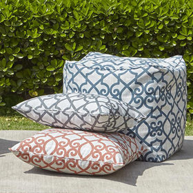 Outdoor showcase outdoor cushions and poufs