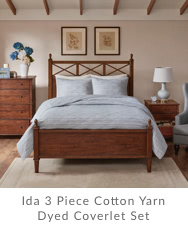 Ida 3 Piece Cotton Yarn Dyed Coverlet Set