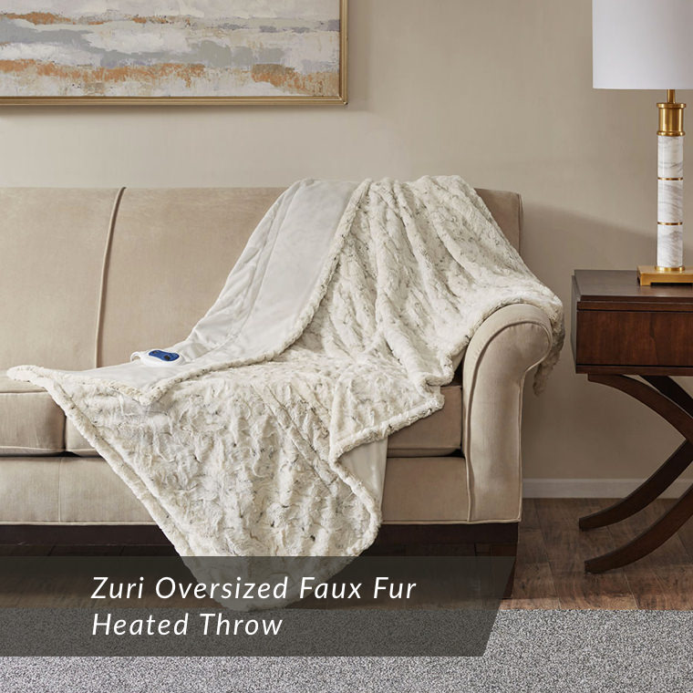 Zuri Faux Fur Heated Throw