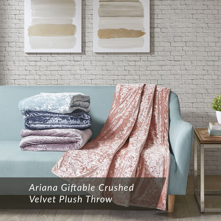 Ariana Giftable Crushed Velvet Plush Throw