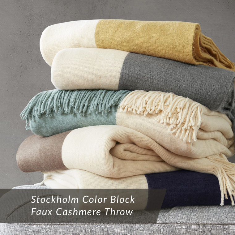 Stockholm Color Block Faux Cashmere Throw