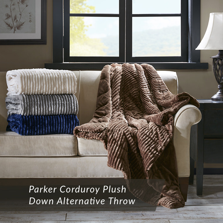 Parker Corduroy Plush Down Alternative Throw