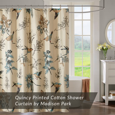 Quincy Printed Cotton Shower Curtain by Madison Park