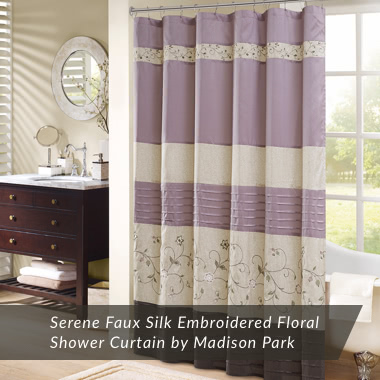 Serene Faux Silk Embroidered Floral Shower Curtain by Madison Park